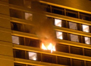 Fire coming out of a window of hotel Oberoi