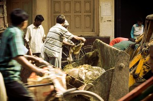 Municipality workers cleaning the waste