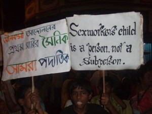 Children carrying banners