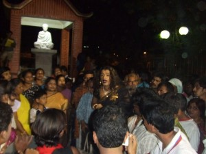 Laxmi addressing to the community people