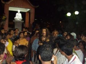 Laxmi addressing to the community people