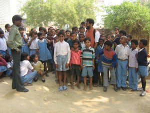 Josh with village kids