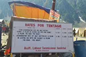 Rates for tents